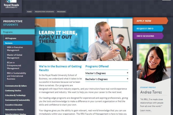 Royal Roads University – web content